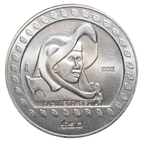 50 песо. Ацтеки - вождь Агуила. Мексика. 1992 год. Серебро. AU