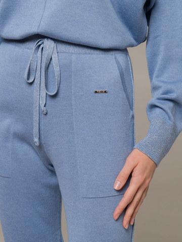 Голубые брюки из шёлка и кашемира спортивного силуэта - фото 5