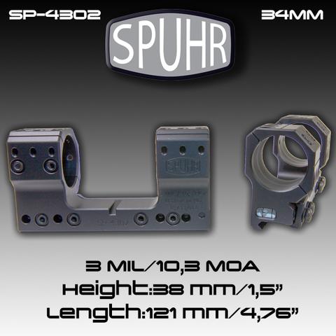 Тактический кронштейн SPUHR D34мм на Picatinny, H38мм, наклон 3MIL/10.3MOA (SP-4302)
