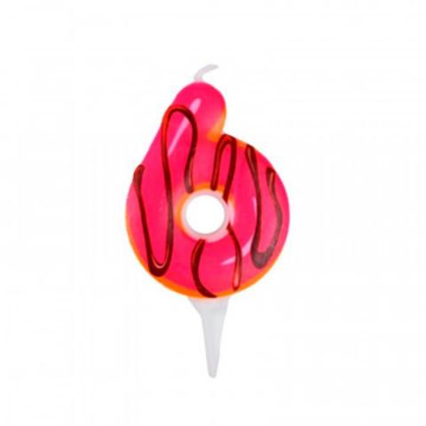 Свеча для торта Пончик Цифра 6 6см арт6058050