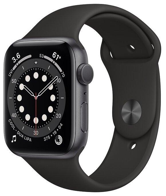 Apple Watch Series 6 Часы Apple Watch Series 6 GPS 44mm Aluminum Case with Sport Band (Серый космос/Черный) umnye-chasy-apple-watch-series-6-gps-44mm-silver.jpg