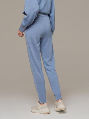 Голубые брюки из шёлка и кашемира спортивного силуэта - фото 3