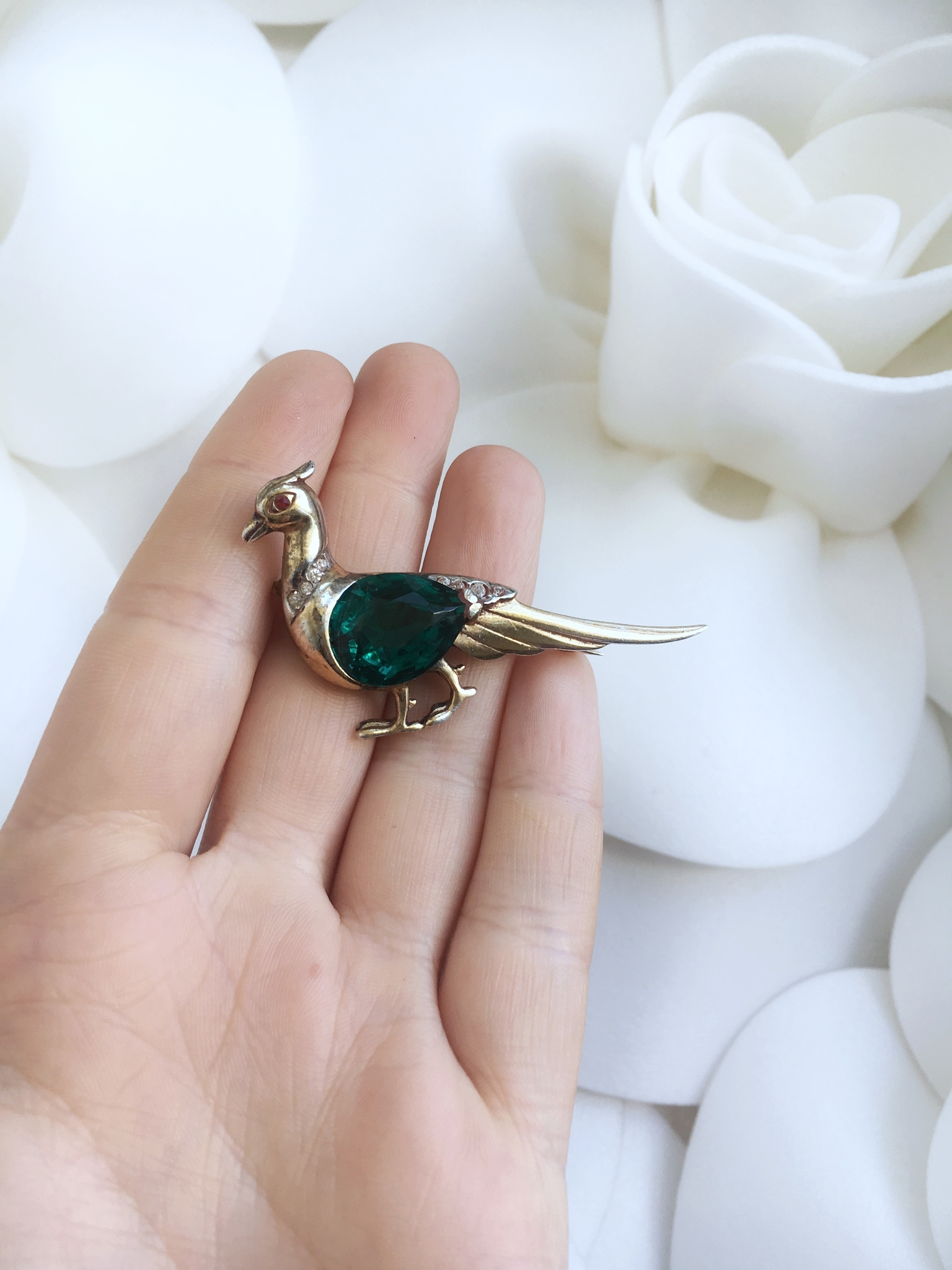 Collectible Pheasant brooch by Reja, 1940s.