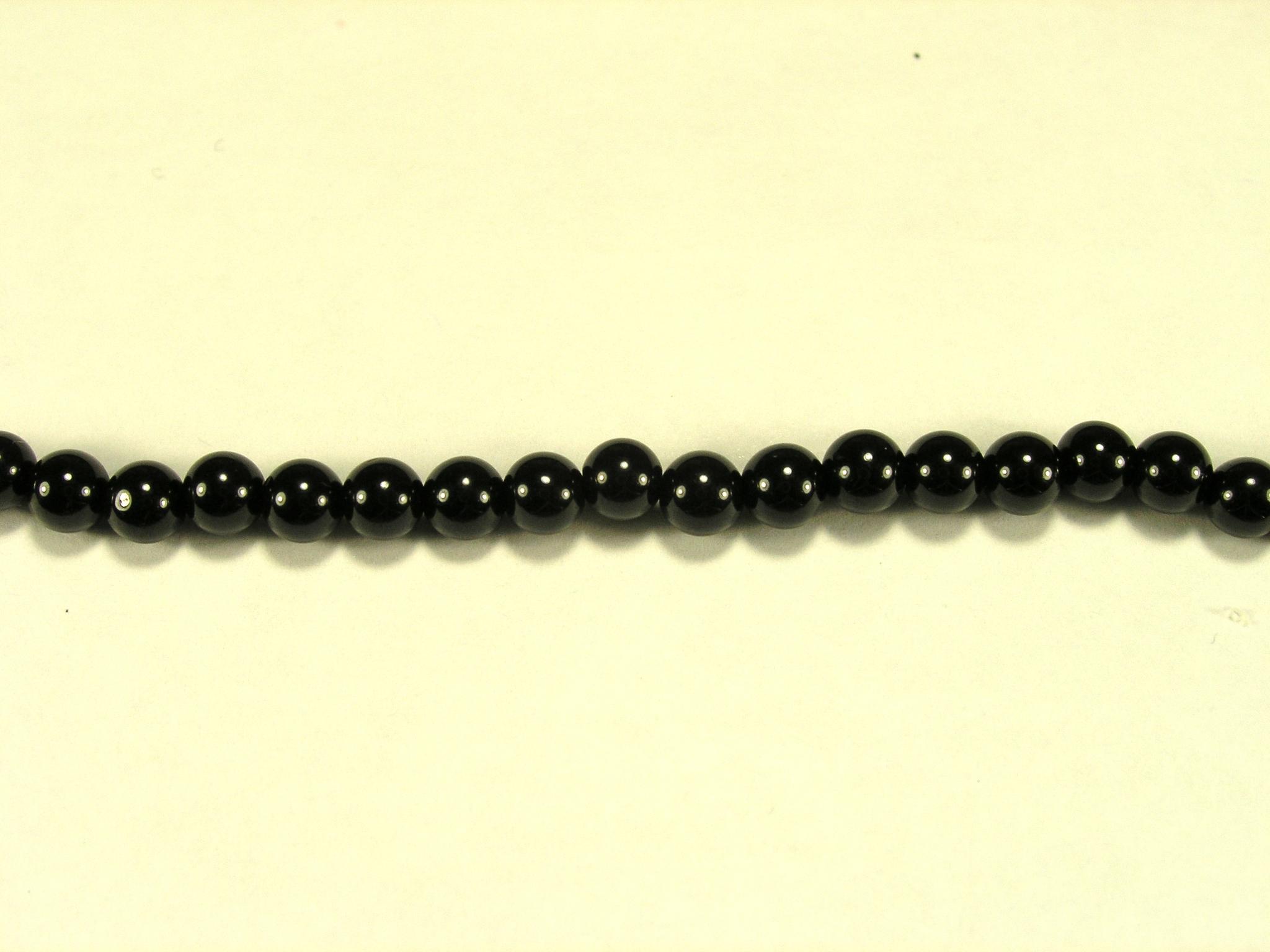 Бусина из шпинели черной, шар гладкий 4мм