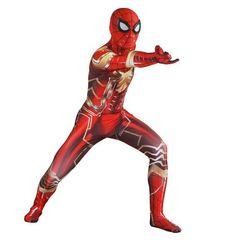 Красно-золотой костюм железного Человека-паука из спандекса.