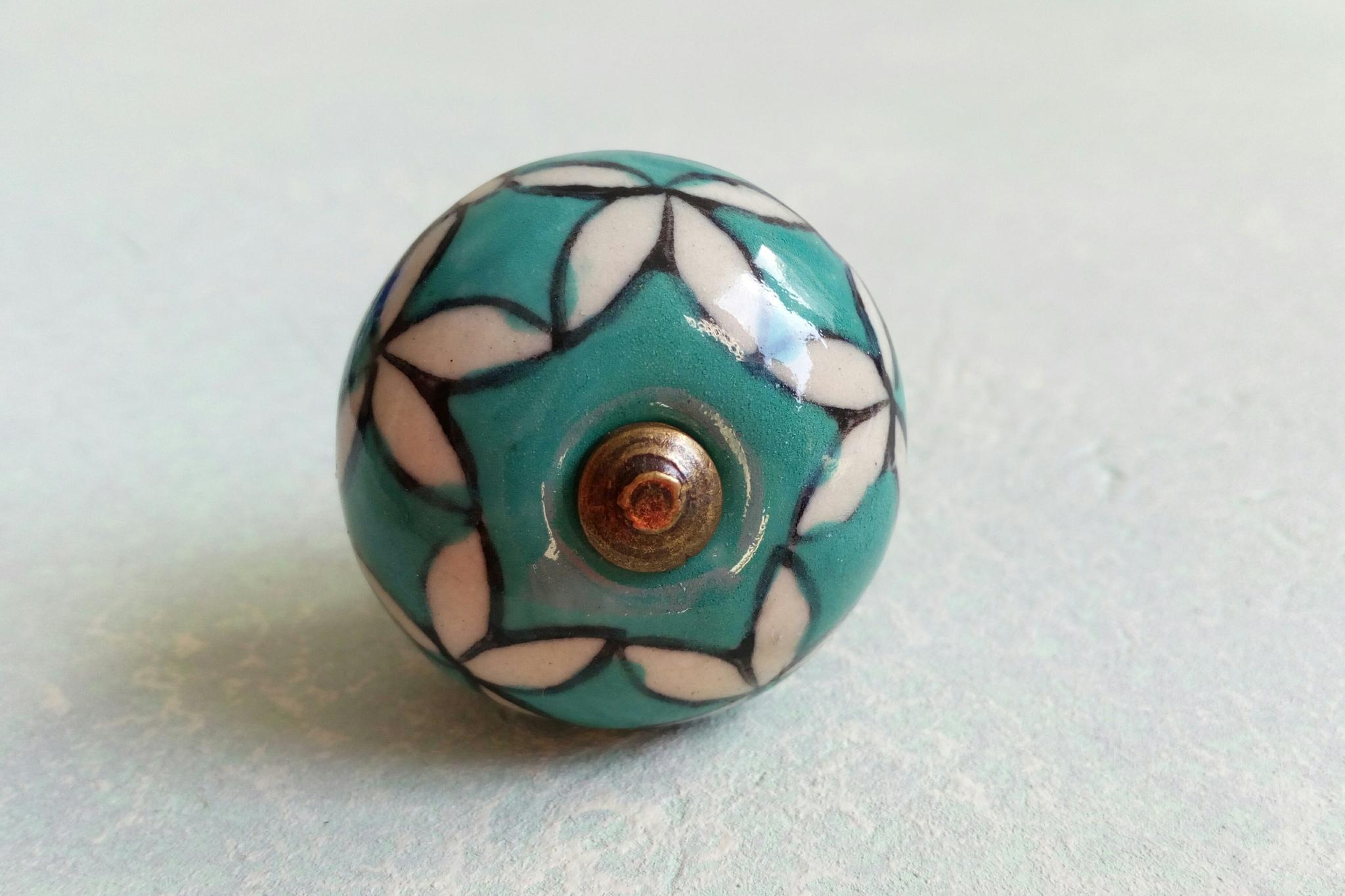 Ручка мебельная керамическая  расписная 00001215