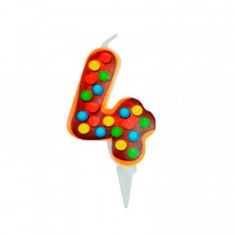 Свеча для торта Пончик Цифра 4 6см арт6058036