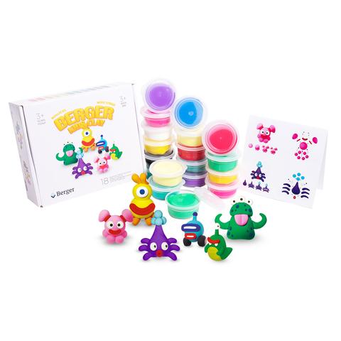 Интерактивный пластилин Berger Kids Clay Монстрики 18 баночек 580г Разноцветный (Beasts 01-18) + подарок