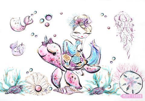 Панель(купон) девочка,черепаха,подводный мир-40*60 см