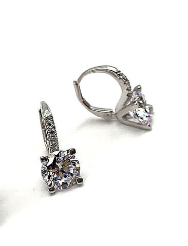 97920 - Серьги из серебра с цирконами бриллиантовой огранки