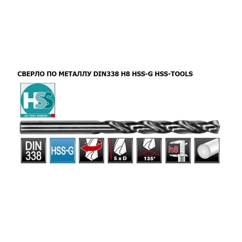 Сверло по металлу HSS-Tools DIN 338 HSS-G 12,5x151/101мм 1040-1125