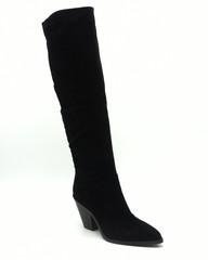Высокие сапоги из черного велюра типа