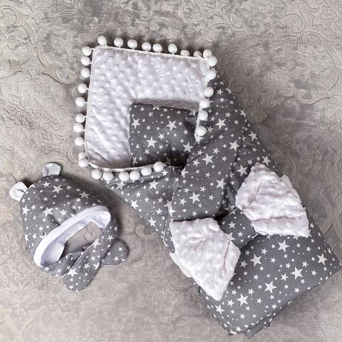 СуперМамкет. Конверт-одеяло с бантом и шапочкой Звезды, серый/белый плюш