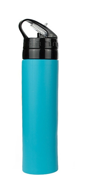 Бутылка силиконовая скручивающаяся 600 мл бирюзовая