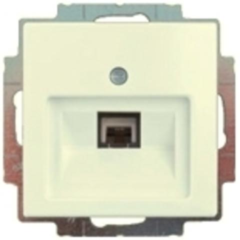Розетка телефонная одинарная RJ11/12 8-полюсная. Цвет шале-белый. ABB Basic 55. 1753-0-0210+130 104 07