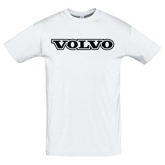 Футболка с принтом Вольво (VOLVO) белая 3