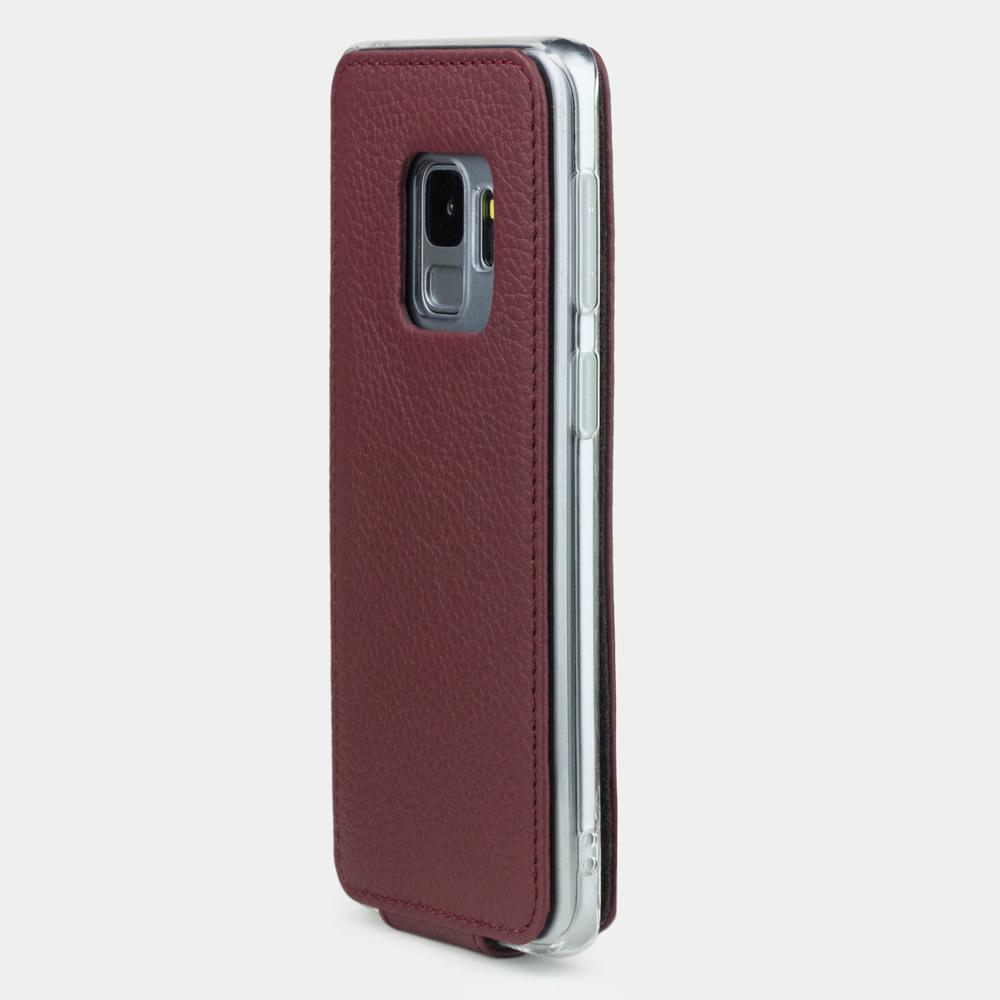 Чехол для Samsung Galaxy S9 из натуральной кожи теленка, бордового цвета