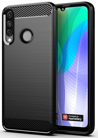 Чехол черного цвета на Huawei Y6P (2020), серии Carbon от Caseport