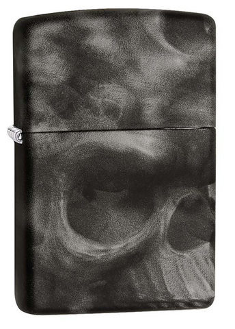 Зажигалка Zippo Skull, латунь/сталь с покрытием Softouch, чёрная, матовая, 36x12x56 мм
