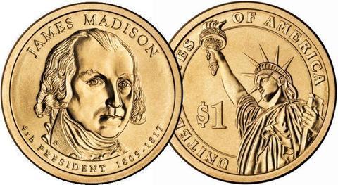 1 доллар 4-й президент США Джеймс Мэдисон 2007 год