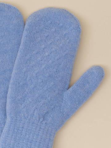 Женские варежки голубого цвета из 100% кашемира - фото 4