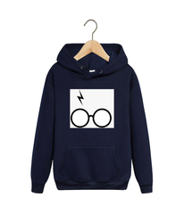 Толстовка темно-синяя с капюшоном (худи, кенгуру) и принтом Гарри Поттер (Harry Potter) 001