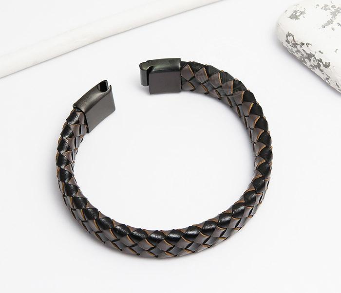 BM450-2 Мужской плетеный браслет из натуральной кожи (20 см) фото 02