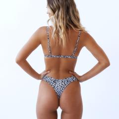 Купальник раздельный леопардовый с лямками бикини стринги 8
