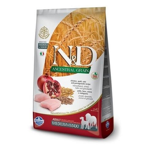 12 кг. FARMINA N&D Ancestral Grain Сухой низкозерновой корм для собак средних и крупных пород с курицей и гранатом Adult Medium&Maxi Chicken&Pomegranate