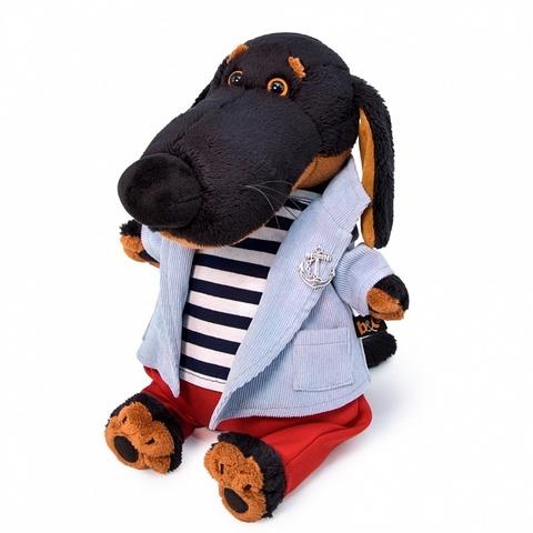 Пес Ваксон в костюме с тельняшкой