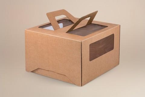 Коробка для торта 28*28*20 с окном и ручками, крафт