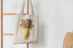 Сумка-шоппер с принтом Босс-молокосос, Тройняшки (The Boss Baby) бежевая 0012