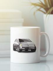 Кружка с рисунком Кадиллак (Cadillac) белая 007