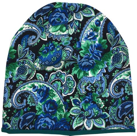 Женская шапочка бини с принтом Огурцы (Пейсли) - сине-зеленые
