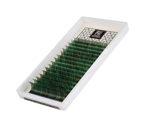 Цветные ресницы BARBARA (зеленые) МИКС (D 0.10 7-15mm)