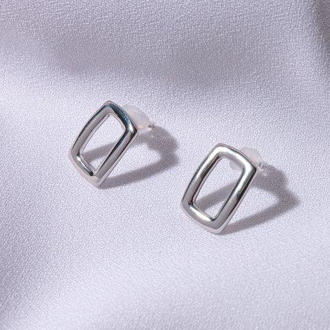 Серьги Контурные Прямоугольники (серебристый)