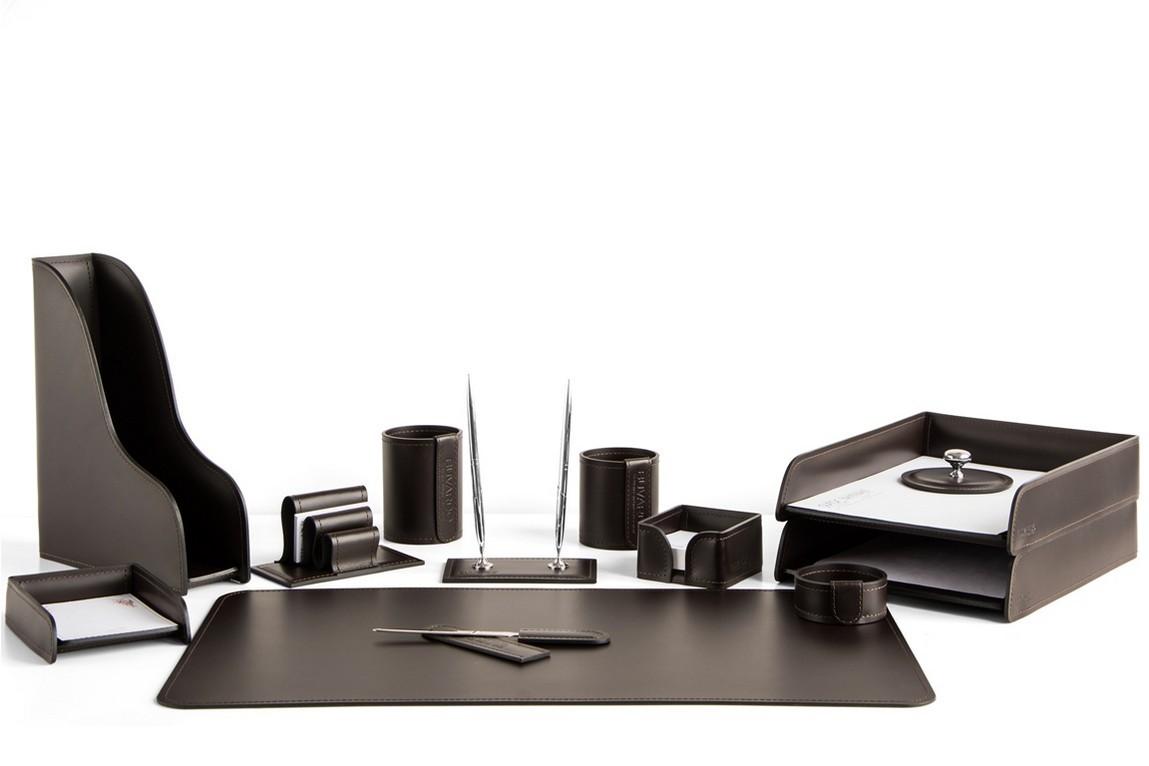 Набор Buvardo на стол руководителя 1592-СТ 13 предметов шоколад. Вариант расстановки 1.