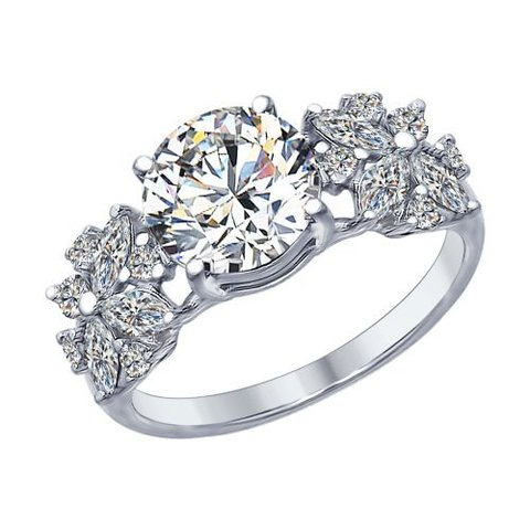 94012395 - Кольцо из серебра с фианитами