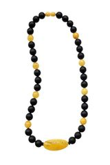 бусы мужские чёрные с жёлтым, янтарь, фото