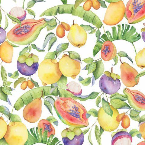 Тропические фрукты на белом. Акварель
