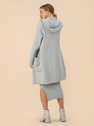 Женский кардиган серого цвета из вискозы с капюшоном  - фото 4