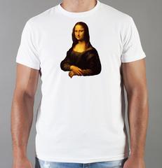 Футболка с принтом  Да Винчи/ Мона Лиза (Леонардо Leonardo da Vinci) белая 004