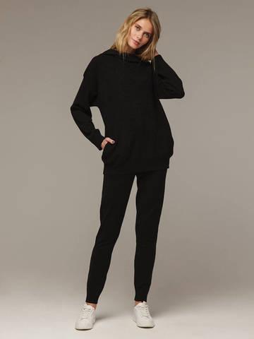 Женский черный джемпер с капюшоном из шерсти и кашемира - фото 4