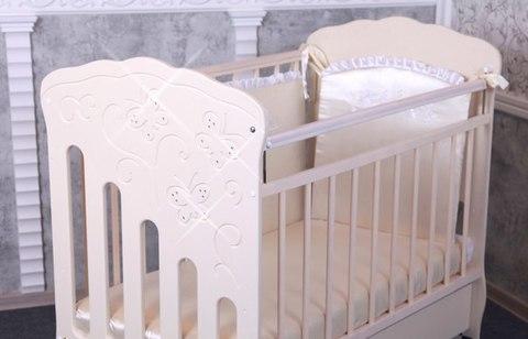 Кроватка детская Бабочка маятник поперечный с ящиком (слоновая кость)