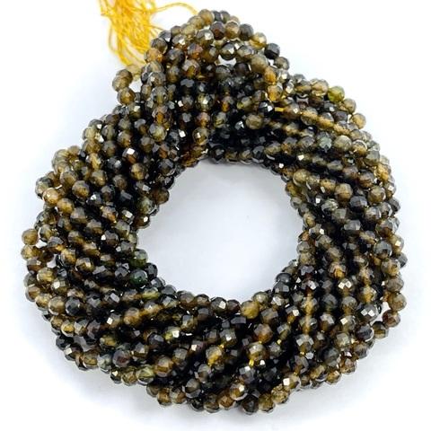 Бусины турмалин золотисто-коричневый A+ граненый 3,4 мм цена за 61 бусину (~19 см)