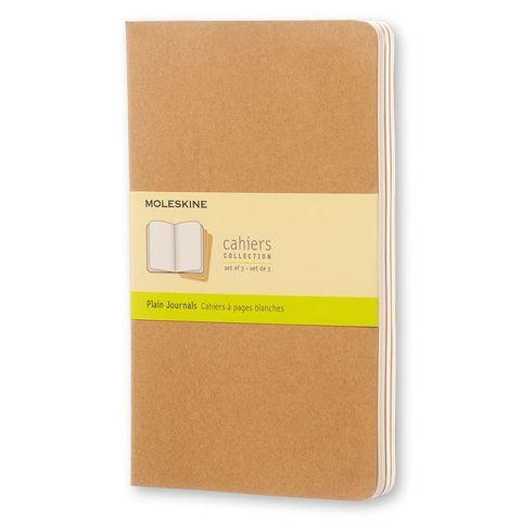 Блокнот Moleskine CAHIER JOURNAL QP418 Large 130х210мм обложка картон 80стр. нелинованный бежевый (3шт)