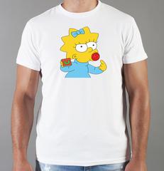 Футболка с принтом мультфильма Симпсоны (The Simpsons) белая 0015