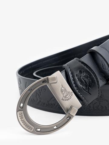 Ремень «Вольные кони» цвета чёрного антрацита