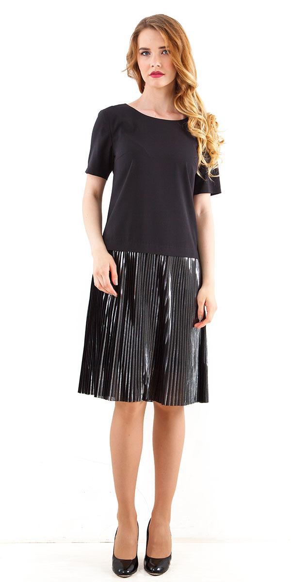 Платье З249а-393 - Стильное платье, имитирующее костюм с юбкой. Выполнено из тканей-компаньонов: плотного поливискозного трикотажа и тафты с крэш-эффектом