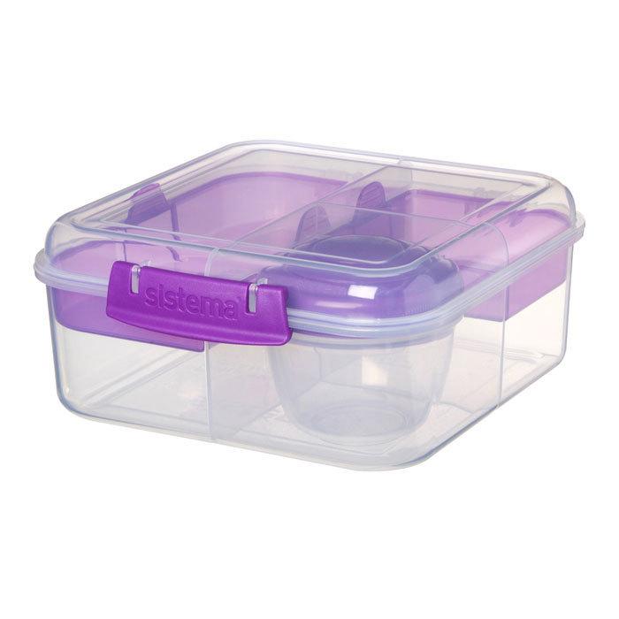 """Ланч-бокс с баночкой Sistema """"Bento TO GO"""", многосекционный, 1,25 л, цвет Фиолетовый"""